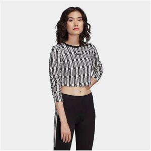 Adidas Women's Originals Crop Long-Sleeve T-Shirt in White/Black Size Large Cotton/Jersey