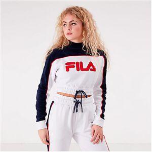Cadence Fila Women's Cadence Mock Neck Crop Sweatshirt in White Size Small Cotton/Velvet