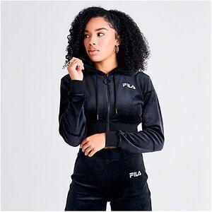 Fila Women's Lou Velour Cropped Full-Zip Hoodie in Black Size Small