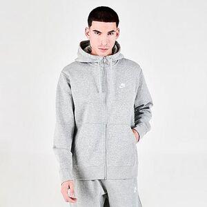 Nike Sportswear Club Fleece Full-Zip Hoodie in Grey/Dark Grey Heather Size X-Large Cotton/Polyester/Fleece