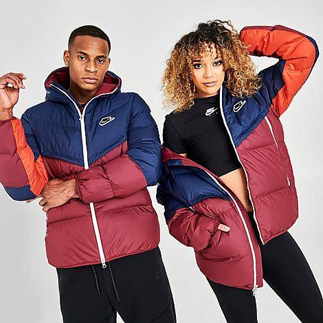 Nike Sportswear Down-Fill Windrunner Jacket in Blue/Red/Navy Size Large 100% Polyester