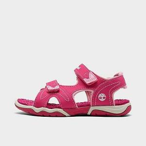 Timberland Girls' Toddler Adventure Seeker 2-Strap Hook-and-Loop Sandals in Pink/Hot Pink Size 4.0 Leather