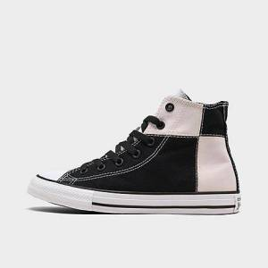 Converse Little Kids' Chuck Taylor Patchwork High Top Casual Shoes in Pink/Black Size 3.0 Canvas