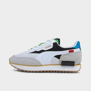 Puma Big Kids' Future Rider Unity Casual Shoes in White/Black Size 6.0 Suede