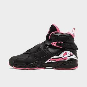 Nike Girls' Big Kids' Air Jordan Retro 8 Basketball Shoes in Black Size 6.0 Leather