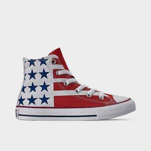 Taylor Converse Big Kids' Chuck Taylor Stars and Stripes High Top Casual Shoes in White Size 4.5 Canvas