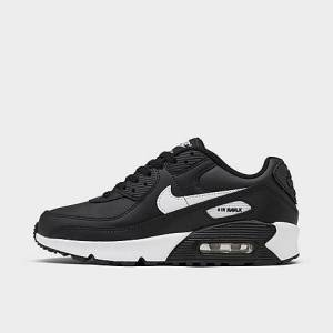 Nike Boys' Big Kids' Air Max 90 Casual Shoes in Black Size 3.5 Leather
