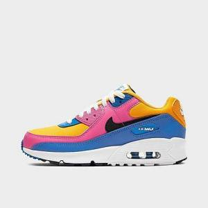 Nike Boys' Big Kids' Air Max 90 Casual Shoes in Blue Size 4.5 Leather