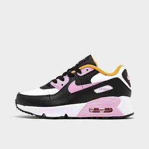 Nike Little Kids' Air Max 90 Casual Shoes in Black Size 11.0 Leather