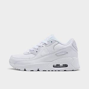 Nike Boys' Little Kids' Air Max 90 Casual Shoes in White Size 11.0 Leather