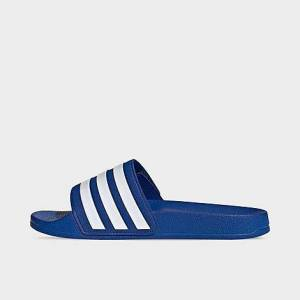 Adidas Big Kids' Adilette Adjustable Shower Slide Sandals in Blue Size 1.0