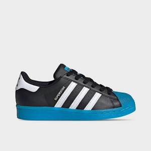 Adidas Big Kids' Originals Superstar Casual Shoes in Blue/Black Size 5.5 Leather