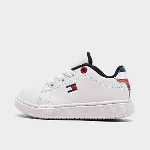 Tommy Hilfiger Boys' Toddler Iconic Court Casual Shoes in White Size 10.0 Leather
