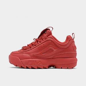 Fila Girls' Big Kids' Disruptor Patent Flag Casual Shoes in Red Size 5.0 Leather