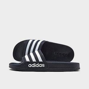 Adidas Little Kids' Adilette Shower Slide Sandals in Black/Core Black Size 11.0