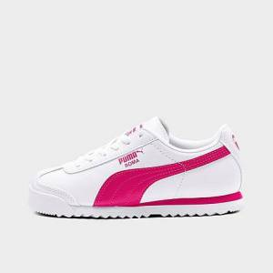 Puma Girls' Little Kids' Roma Casual Shoes in Pink/White Size 6.0 Leather