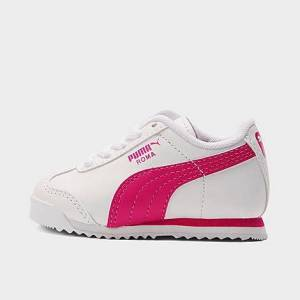 Puma Girls' Toddler Roma Casual Shoes in Pink/White Size 6.0 Leather