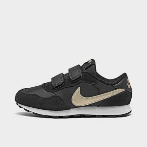 Nike Boys' Little Kids' MD Valiant Hook-and-Loop Casual Shoes in Black/Black Size 3.0 Suede