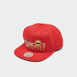 Mitchell And Ness Mitchell & Ness Houston Rockets NBA Vintage 2 Snapback Hat in Red/Red