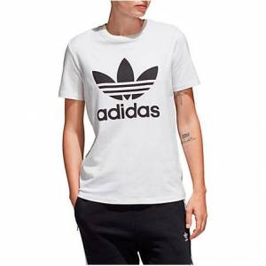 Adidas Women's Originals Trefoil T-Shirt in White Size X-Large 100% Cotton/Jersey