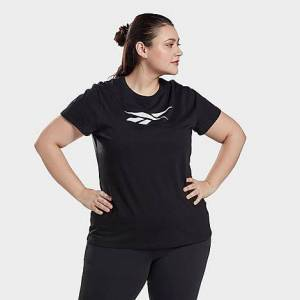 Reebok Women's Graphic Vector T-Shirt (Plus Size) in Black/Black Size Extra Large Cotton/Polyester