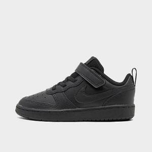 Nike Kids' Toddler Court Borough Low 2 Casual Shoes in Black/Black Size 8.0 Leather