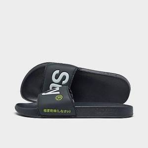 Superdry Men's Classic Pool Slide Sandals in Black Size Large