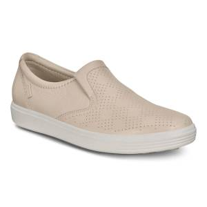 ECCO Soft 7 Womens Pared Back Slip-on Shoes: 6 - Vanilla Metallic