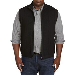 St Croix Big & Tall St. Croix Full-Zip Sweater Vest - Black