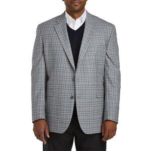 Jack Victor Big & Tall Jack Victor Mixed Plaid Sport Coat - Grey