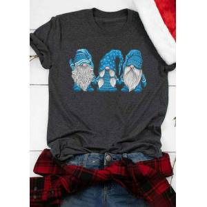 Christmas Gnomies O-Neck T-Shirt Tee - Dark Grey