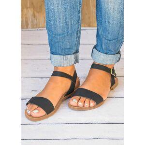 Solid Buckle Strap Flat Sandals - Black