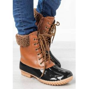 Color Block Lace Up Round Toe Zipper Boots