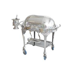 Devonia Antiques Vintage Sheffield Silver Plated Carving Station/Meat Trolley