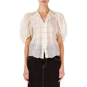 Isabel Marant Abies Puff-Sleeve Checkered Organza Blouse