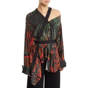palmer/harding Heathers Printed Viscose One-Shoulder Top