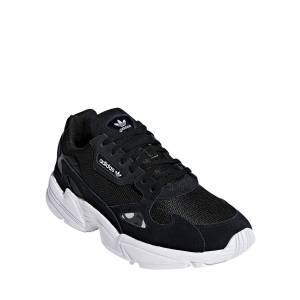 Adidas Falcon Lace-Up Leather Running Sneakers  - BLACK/WHITE - Size: 5B