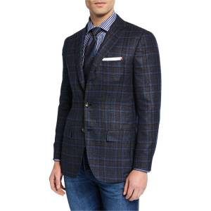 Kiton Men's Plaid Cashmere Sport Coat  - NAVY - Gender: male - Size: 50R EU (40R US)