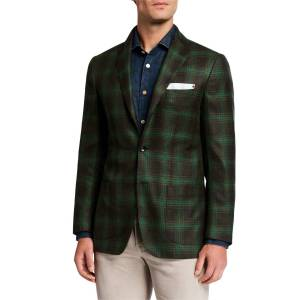Kiton Men's Plaid Cashmere Sport Jacket  - GREEN - Gender: male - Size: 60R EU (48R US)