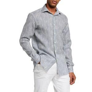 Ermenegildo Zegna Men's Linen Seersucker Sport Shirt - Size: Medium