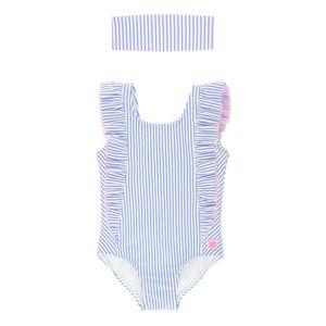 RuffleButts Girl's Seersucker Striped Ruffle One-Piece Swimsuit w/ Headband, Size 3M-10  - BLUE - Size: 6-12 Months