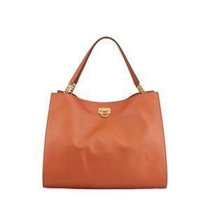 Salvatore Ferragamo Trifolio Gancio Square Leather Tote Bag