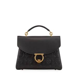 Salvatore Ferragamo Margot Gancini-Embossed Leather Top-Handle Bag