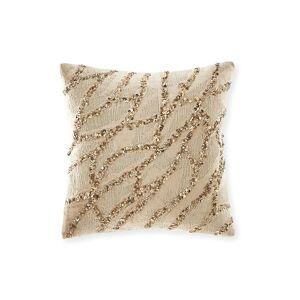 Donna Karan Gold Dust Beaded Velvet Decorative Pillow