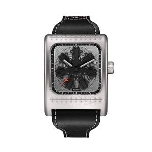 Tockr Watches Men's 52mm x 45mm Radial C-47W Leather Watch, Black