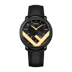 Fendi Men's Run Away F is Fendi Logo Analog Leather Watch with Black Strap