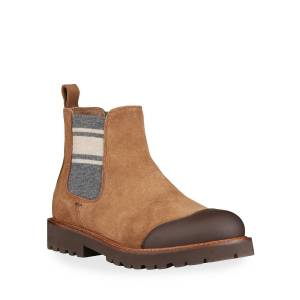 Brunello Cucinelli Boy's Suede & Leather Chelsea Boots, Kids  - BROWN - Gender: male - Size: 35EU (4US Kid)