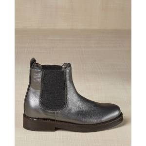 Brunello Cucinelli Metallic Leather Chelsea Boots, Kids  - GRAY - Gender: female - Size: 31EU (13US Kid)
