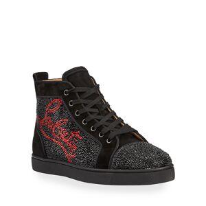 Christian Louboutin Men's Louis Logo Strass Suede High-Top Sneakers - Size: 43 EU (10D US)