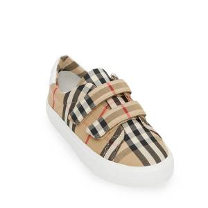 Burberry Markham Check Grip-Strap Sneaker, Toddler/Youth Sizes 10T-4Y  - BEIGE - Gender: unisex - Size: 29EU (12US Tod)